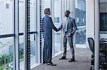 Multi-ethnic businessmen shaking hands in office