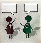 Illustration of multi religion men with speech bubbles against white background