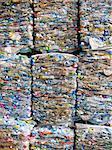 Full frame shot of crushed plastic bottles for recycling