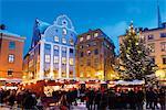 Sweden, Stockholm, Gamla Stan, Stortorget, Christmas market