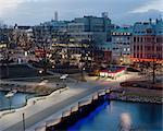 Sweden, Skane, Malmo, Sodertull, Bridge over canal at dusk