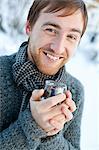 Sweden, Uppland, Man holding glass