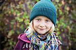 Sweden, Portrait of girl (6-7) in autumn
