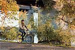 Sweden, Sodermanland, Stockholm, Sodermalm, Hornstull, Mid adult man riding bicycle