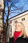 Finland, Helsinki, Kruununhaka, Portrait of woman with eyes closed