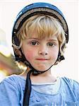 Finland, Uusimaa, Helsinki, Boy (4-5) in cycling helmet
