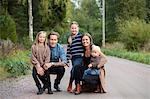 Finland, Uusimaa, Raasepori, Karjaa, Portrait of family with three children (12-17 months, 6-7)