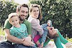 Family enjoying a day out picniking, portrait
