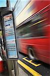 Double Decker Bus Speeding by Schedule, London, England, UK