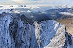 Aerial view of Cima della Bondasca located between Ferro Valley and Bondasca Valley, border of Italy and Switzerland, Europe