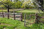 Open wooden gate