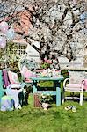 Sweden, Sodermanland, Strangnas, Table set for graduation party in garden