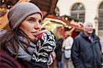 Sweden, Stockholm, Gamla Stan, Woman drinking coffee at market