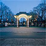 Sweden, Skane, Malmo, Mollevangen, Folkets Park at dusk