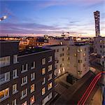 Sweden, Skane, Malmo, Vastra Hamnen, Turning Torso at dusk