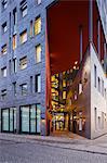 Sweden, Skane, Malmo, Illuminated facade of modern building