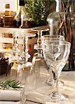 Sweden, Vastergotland, View of backlit wine glasses