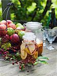 Sweden, Preserved apples in jars and fresh apples in metal basket
