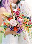 Sweden, Close- up of bouquet at hippie wedding