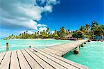 Trinidad and Tobago, Tobago, Pigeon Point, View of wooden pier and coastline