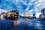 Finland, Helsinki, Kronohagen, Cable cars at night
