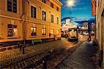 Finland, Helsinki, Kronohagen, Cable car at night