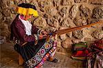 Traditional Peruvian woman weaver, Cusco, Peru, South America