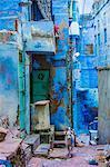 Street scene of the Blue Houses, Jodhpur, the Blue City, Rajasthan, India, Asia
