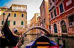 Floating on a gondola, Venice, UNESCO World Heritage Site, Veneto, Italy, Europe