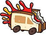 Sandwich with jam like car. Smart interpretation of fast food.