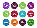 Shopping cart circle icons on white background. Vector illustration.