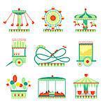 Amusement Park Elements Set Of Cartoon Style Flat Vector Illustrations Isolated On White Background