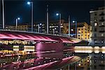 Finland, Varsinais-Suomi, Turku, Illuminated bridge at night