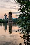 The sun and moon pagodas at Shan lake in Guilin, Guangxi, China