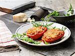 Food, vegetarian meals, filled red peppers, rice cheese, mushrooms, rocket, parmesan