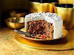 Iced traditional fruit christmas cake