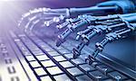 Robotic hands typing on keyboard, illustration.