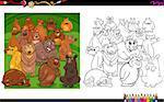 Cartoon Illustration of Bear Animal Characters Coloring Book Activity