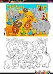 Cartoon Illustration of Safari Animal Characters Coloring Page