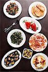 Variety of Spanish tapas on small plates