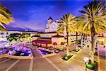 West Palm Beach, Florida, USA cityscape and plaza.