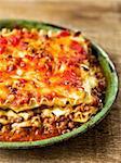 close up of rustic italian cheesy lasagna pasta
