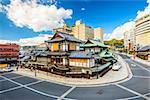 Matsuyama, Japan downtown at the traditional hot springs bathhouse.
