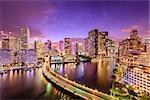 Miami, Florida, USA downtown skyline at night.
