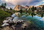 Limedes lake, Lagazuoi mount, Falzarego Pass, Dolomites, Veneto, Italy. Limedes lake