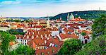 Czech Republic, Prague. Rooftops of buildings in Mala Strana from Prague Castle.
