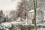 England, Calderdale. A small building at Hardcastle Crags near Hebden Bridge, in winter.