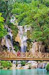 Kuang Si Falls (Tat Kuang Si) Waterfall, Louangphabang Province, Laos