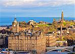UK, Scotland, Lothian, Edinburgh, The Balmoral Hotel and Calton Hill viewed from the Edinburgh Castle.
