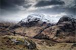 Scotland, Glencoe. Hiker looking at the scenery of Glen Coe in winter. MR